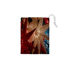 Poinsettia Red Blue White Drawstring Pouches (XS)