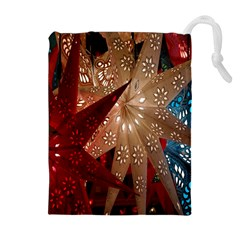 Poinsettia Red Blue White Drawstring Pouches (Extra Large)
