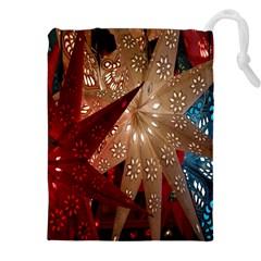 Poinsettia Red Blue White Drawstring Pouches (XXL)