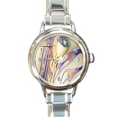 Pin Stripe Car Automobile Vehicle Round Italian Charm Watch
