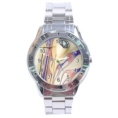 Pin Stripe Car Automobile Vehicle Stainless Steel Analogue Watch