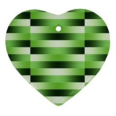 Pinstripes Green Shapes Shades Ornament (Heart)
