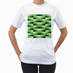 Pinstripes Green Shapes Shades Women s T Shirt (white) (two Sided)