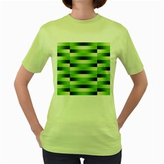 Pinstripes Green Shapes Shades Women s Green T-Shirt