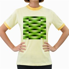 Pinstripes Green Shapes Shades Women s Fitted Ringer T Shirts