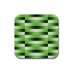 Pinstripes Green Shapes Shades Rubber Square Coaster (4 pack)