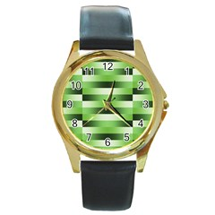 Pinstripes Green Shapes Shades Round Gold Metal Watch