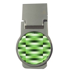Pinstripes Green Shapes Shades Money Clips (Round)