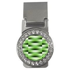 Pinstripes Green Shapes Shades Money Clips (CZ)