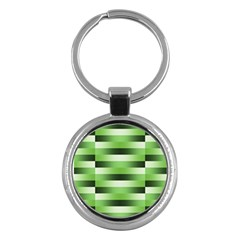Pinstripes Green Shapes Shades Key Chains (round)