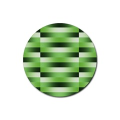 Pinstripes Green Shapes Shades Rubber Coaster (Round)