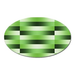 Pinstripes Green Shapes Shades Oval Magnet