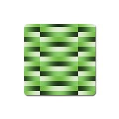 Pinstripes Green Shapes Shades Square Magnet