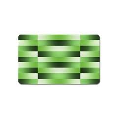 Pinstripes Green Shapes Shades Magnet (Name Card)