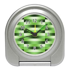 Pinstripes Green Shapes Shades Travel Alarm Clocks