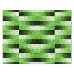 Pinstripes Green Shapes Shades Rectangular Jigsaw Puzzl