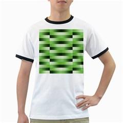 Pinstripes Green Shapes Shades Ringer T-Shirts