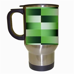 Pinstripes Green Shapes Shades Travel Mugs (White)