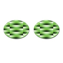 Pinstripes Green Shapes Shades Cufflinks (Oval)