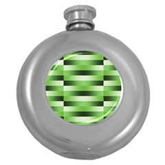Pinstripes Green Shapes Shades Round Hip Flask (5 Oz)