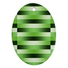 Pinstripes Green Shapes Shades Oval Ornament (Two Sides)