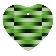Pinstripes Green Shapes Shades Heart Ornament (Two Sides)