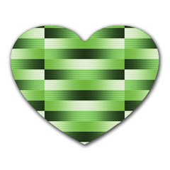 Pinstripes Green Shapes Shades Heart Mousepads