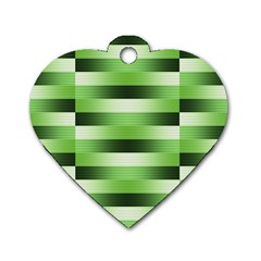 Pinstripes Green Shapes Shades Dog Tag Heart (One Side)