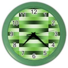 Pinstripes Green Shapes Shades Color Wall Clocks