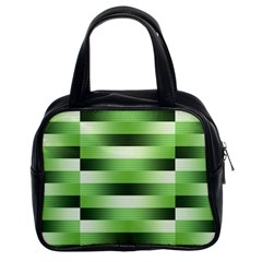 Pinstripes Green Shapes Shades Classic Handbags (2 Sides)