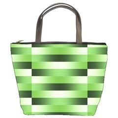 Pinstripes Green Shapes Shades Bucket Bags