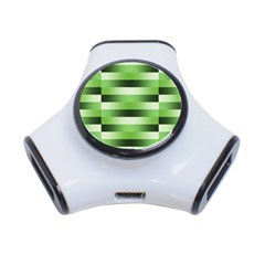Pinstripes Green Shapes Shades 3-Port USB Hub