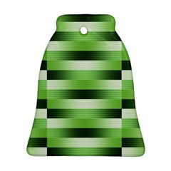Pinstripes Green Shapes Shades Bell Ornament (Two Sides)