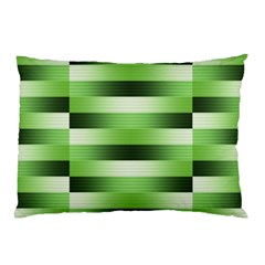 Pinstripes Green Shapes Shades Pillow Case (Two Sides)