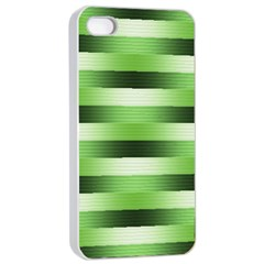 Pinstripes Green Shapes Shades Apple Iphone 4/4s Seamless Case (white)