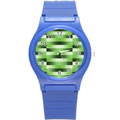 Pinstripes Green Shapes Shades Round Plastic Sport Watch (s)