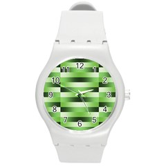 Pinstripes Green Shapes Shades Round Plastic Sport Watch (m)