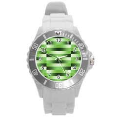 Pinstripes Green Shapes Shades Round Plastic Sport Watch (L)