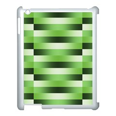 Pinstripes Green Shapes Shades Apple iPad 3/4 Case (White)