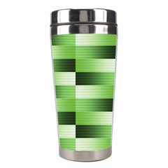 Pinstripes Green Shapes Shades Stainless Steel Travel Tumblers