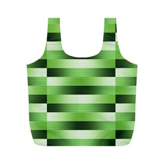 Pinstripes Green Shapes Shades Full Print Recycle Bags (m)