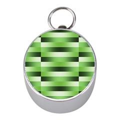 Pinstripes Green Shapes Shades Mini Silver Compasses