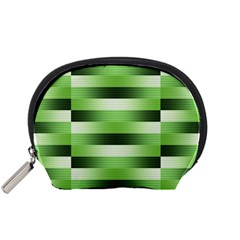 Pinstripes Green Shapes Shades Accessory Pouches (small)
