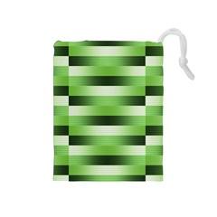 Pinstripes Green Shapes Shades Drawstring Pouches (medium)