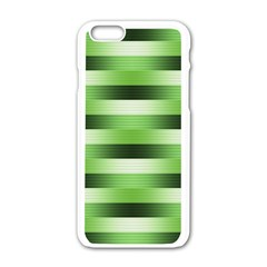 Pinstripes Green Shapes Shades Apple Iphone 6/6s White Enamel Case