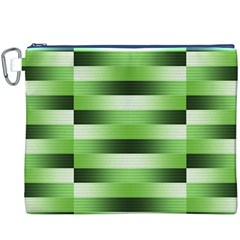 Pinstripes Green Shapes Shades Canvas Cosmetic Bag (XXXL)