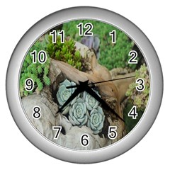Plant Succulent Plants Flower Wood Wall Clocks (Silver)