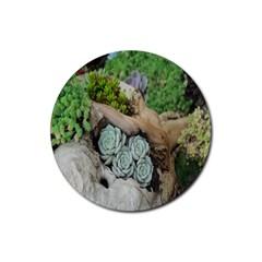 Plant Succulent Plants Flower Wood Rubber Coaster (Round)