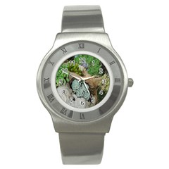 Plant Succulent Plants Flower Wood Stainless Steel Watch