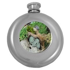 Plant Succulent Plants Flower Wood Round Hip Flask (5 oz)